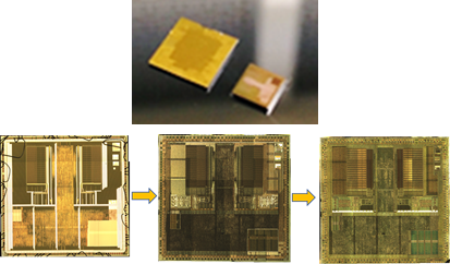 before and after delayering ic chip